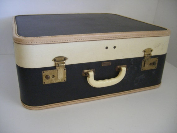 Vintage Suitcase.....navy...white....tan...preppy......nautical