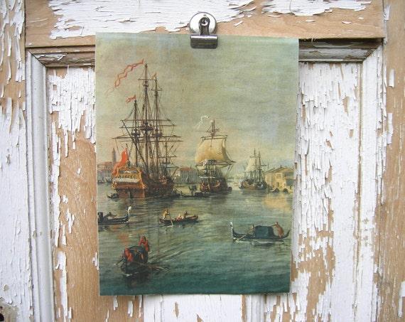 Vintage ship print      nautical      tall ships