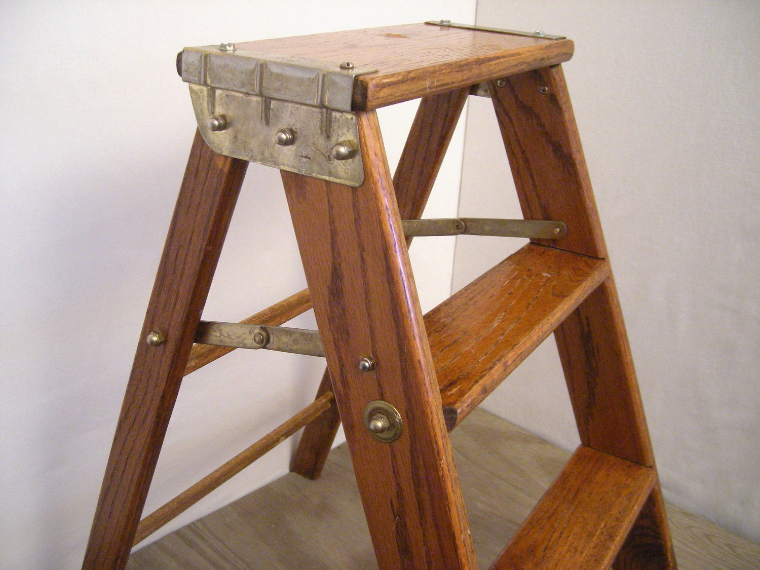 Vintage Step Ladder Wood With Metal Accents Small Decorative