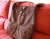 Brown Corduroy Book Bag Reversible