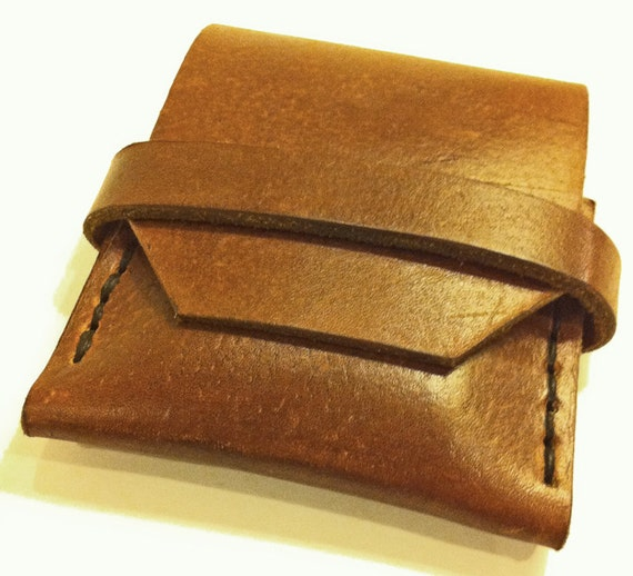 Mens Brown Leather Minimal Credit Card Wallet