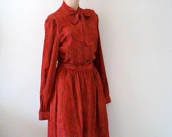 1970s Secretary Dress / skirt & blouse ensemble / vintage shirtwaist