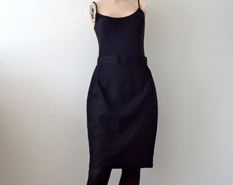 1980s Pencil Skirt / Black Linen Cotton Mini Skirt