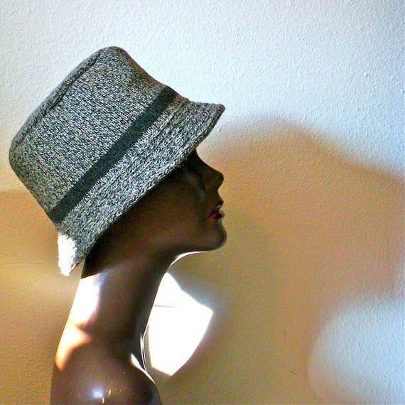 1970s Hat / Knit Fedora by Penthouse Knits / Winter Accessory