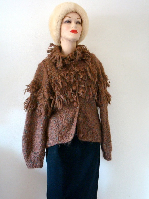 Vintage Mohair Sweater / 1980s Wooly Fringed Jacket / where the wild things are