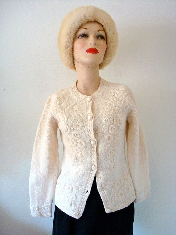 1960s Wool Sweater / Vintage Embroidered Cardigan / flowers of romance