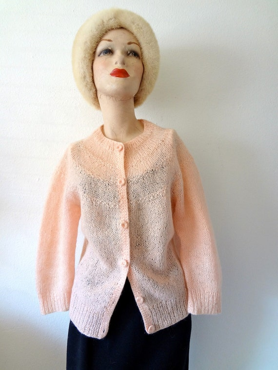 1960s Mohair Sweater / Pink Wool Knit Cardigan