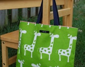 My Tiny Tote...Green Giraffes and Pink Polka Dots ((Navy Strap))