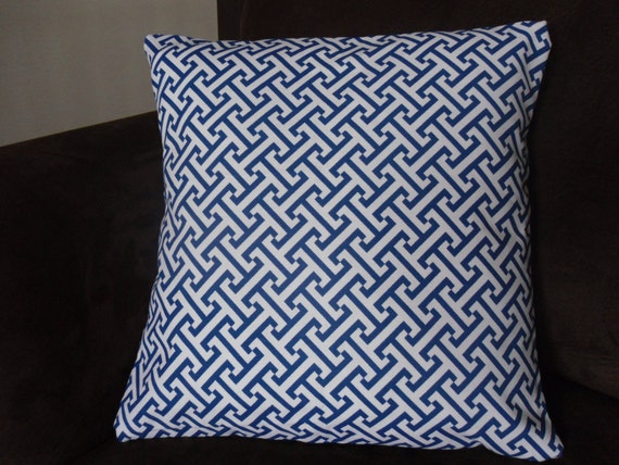 Blue and White Graphic Greek Key Pillow Cover 16x16