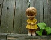 Vintage cutesy 1958 Squeaker Girl in Yellow Dress and Teddy bear Toy by Edward Mobley Co