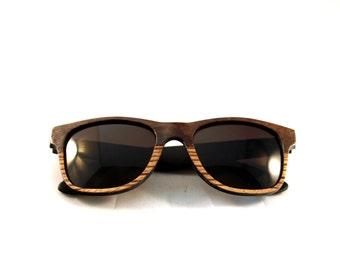 Handcrafted Wooden Faced Sunglasses Wayfarer // Two Tone Walnut and Zebra Eyewear