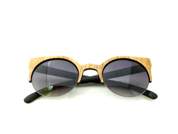 Handcrafted Wooden Faced Sunglasses Round Cateye Womens Style // CHERRY // no. 1133