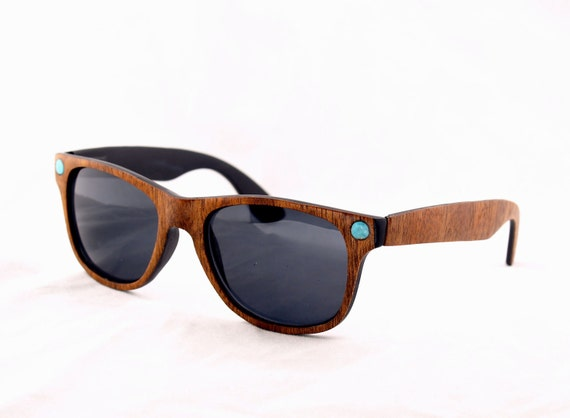 Handcrafted Wood Veneer Sunglasses // Mahogany and Turquoise