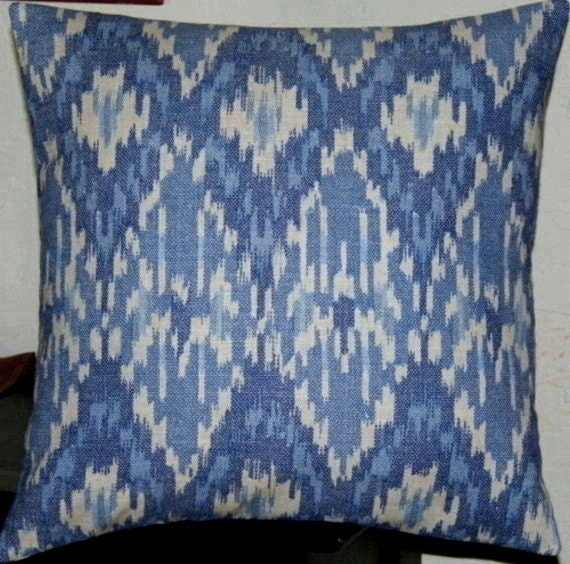 2 Blue Ikat Pillow Covers-18 inch