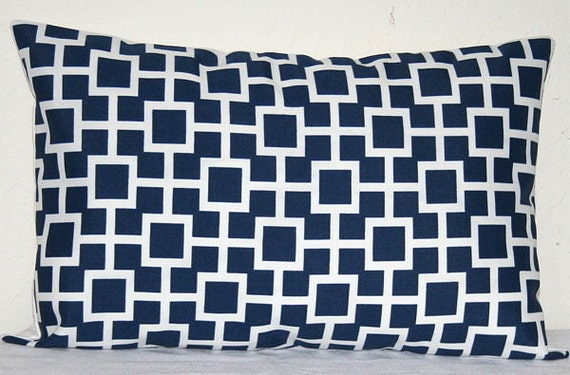 Navy Blue and White Lumbar 12X18 inch Decorative Pillows Accent Pillows Throw Pillows Cushion Covers