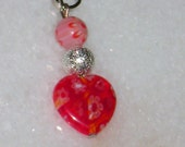 Red and Pink Millefiori Heart Zipper Pull PIF Pay it Forward