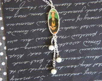 Frida day of the dead beaded dangle necklace