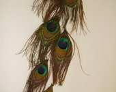 GOOD LUCK - Peacock Feather Hair Extension Clip or Earring, Tribal Feather Hair Extension, Hand Made