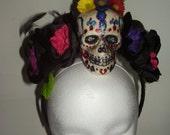 FRIDA SUGAR SKULL - A Hand Painted Skull on a Bed of Flowers Headpiece, Day Of The Dead, Gothic, Skull Headband, Dia De Los Muertos