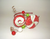 CANDY LAND - Christmas Red and Green Peppermint Candy And Glitter Headpiece, Holidays Headband, Gifts for Her
