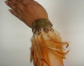 MY WILD SPIRIT - Rust Color Feathers & Pheasant Feather Metal Cuff Accented By A Metal Chain, Tribal Feather Cuff, Rustic