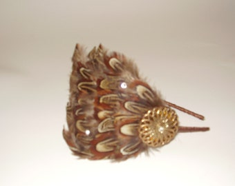 ADRIANA - Pheasant Feather Headband or Fascinator Clip with a Vintage Gold Button n Swarovski Crysta, Hand Made