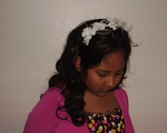 LITTLE PRINCESS - White Flower And Thin Goose Feather Headband, Flower Tiara, Girls Headband,  Hand Made