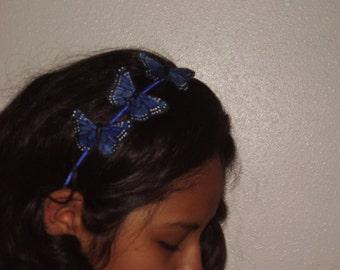 MONARCH II - 3 Dark Blue Monarch Feather Butterflies Headband, Butterfly Tiara, Fairy Wedding, Bridesmaid Set, Handmade