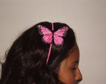 MONARCH - Pink  Feather Butterfly Headband