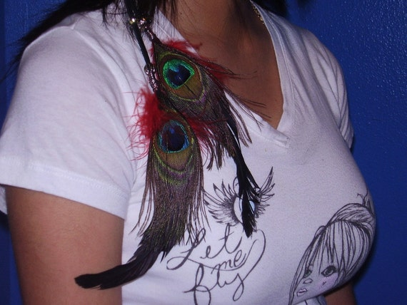 DREAM CATCHER PEACOCK - Red Feather Extension Suede w/ Gold & Silver Beads, Dream Catcher N Silver Feather Charm Hair Clip