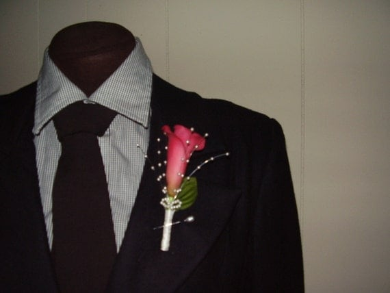 PINK CALLA LILY  -  Flower Boutonniere, Weddings, Groomsmen Set, Prom, Hand Made