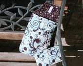 Light Blue and Purple Pattern Diaper Clutch and Diaper Wipes case