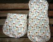 2 i LOVE grandma - Baby Boy Blue - Flannel Burp Cloths