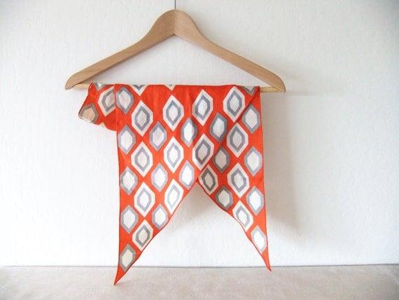 Mid Century Modern Orange Geometric Silk Scarf