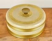 Vintage Round Gold and White Tin