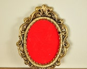 Gold Baroque Small Oval Frames with Red Velvet Insert, Made in Italy