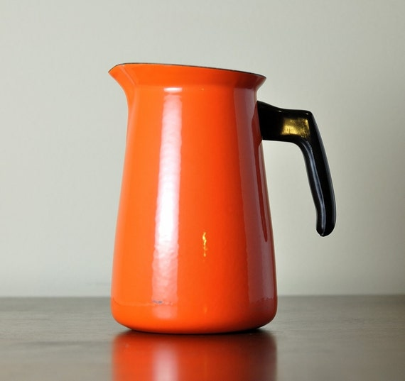 Orange Enamel Pitcher, Enamelware