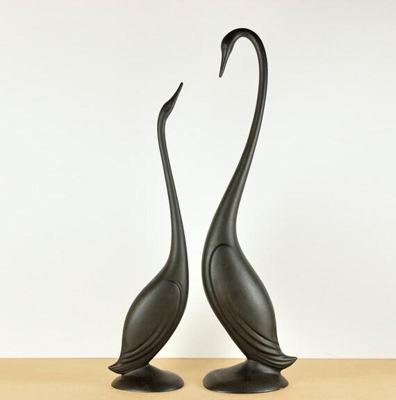 Hallfield Ceramic Swans, 1950s Pottery, Pair, Rare