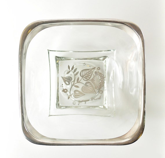 Georges Briard Glass Bowl, Silver Rimmed, Floral Pattern
