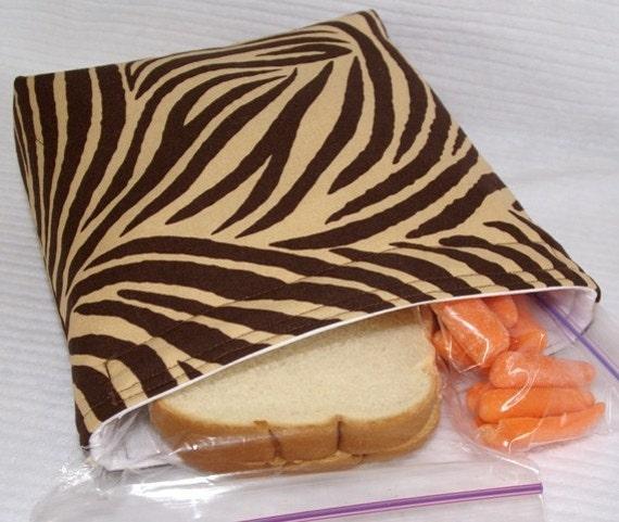 Snack Sandwich Bag -  Insulated and Reusable - Animal Print