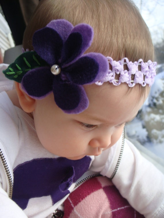 Violet Purple Flowered Headband for Girl Baby Toddler