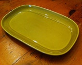 Vintage Lime Green Russel Wright Rectangular Platter with Indented Sides