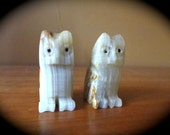 Antique Pair of Onyx Owl Figurines // Hand Carved