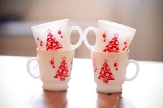 Vintage Christmas Milk Glass Mugs, Set of 4