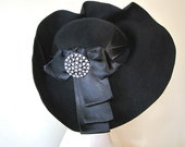 1940's Black Felt Hat with Rhinestone Pin by Claudette of Rockefeller Center, N.Y.C.