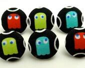 Pac-Man Thumbtacks  Fabric Covered Button Thumbtacks Ghosts