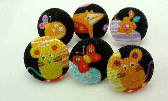 Kawaii Push Pin Thumbtacks Happy Fabric Covered Button Pushpins Animals
