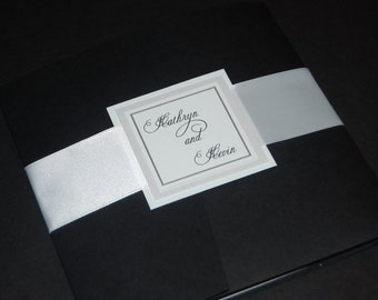 Black and White Wedding Invitations - Pocketfold Wedding Invitations - Wedding Invitation with Ribbon - Wedding Invitation Sample