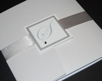 White and silver pocketfold invitation, monogram with crystal, custom colors, custom sample, wedding invite