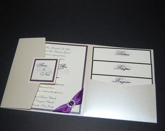 Silver Wedding Invitation - Purple Wedding Invitation - Rhinestone Invitation - Contemporary Invitation - Wedding Invitation - Unique Invite